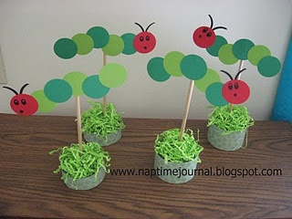 Hungry caterpillar centerpieces, could be modified for cupcake toppers.