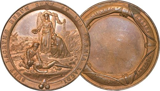 This striking bronze medallion exists because of a terrible maritime tragedy that occurred at Newcastle, NSW on the 15 July 1877.