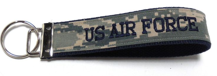 Ready to Ship Military Key Fob, US Air Force ABU Key Fob, Military Wristlet or Key Chain, Navy Blue webbing and Embroidery - pinned by pin4etsy.com