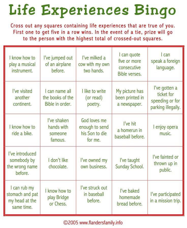 "Today's game is ""Life Experiences BINGO."" This makes a great ice breaker to play as guests are arriving. Guests are asked to check off all statements that apply to them. Whoever c…"