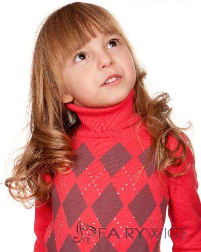 Gracefull Medium Brown 100% Indian Remy Hair Kids Wigs 16 Inch