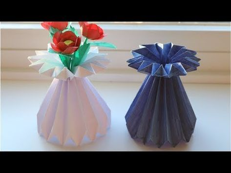 How To Make A Paper Flower Vase Diy Simple Paper Craft Youtube