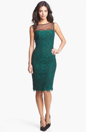 Tadashi Shoji Illusion Yoke Lace Sheath Dress | Nordstrom
