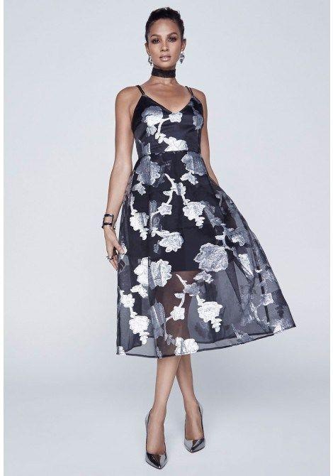 Alesha Dixon Sheer Floral Prom Dress