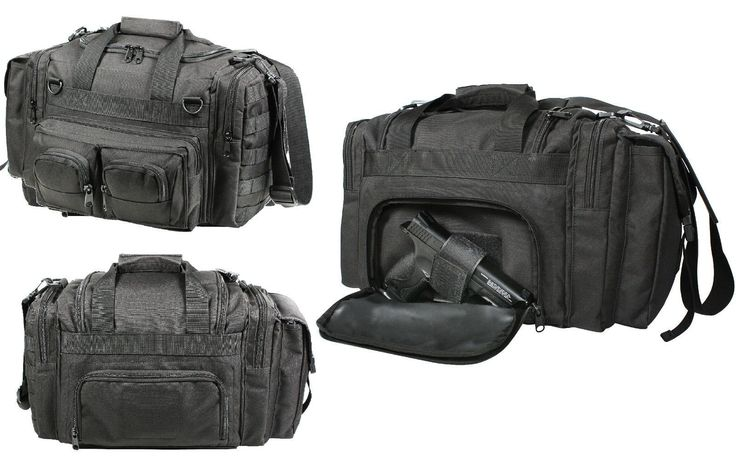 BLACK CONCEALED CARRY BAG 600D Polyester w/ PVC Coating and PP Webbing Top Carry Handles Adjustable, Removable Shoulder Strap 2 Front D-Rings Top Zippered Flap Large Main Compartment 1 Large Side Pouc