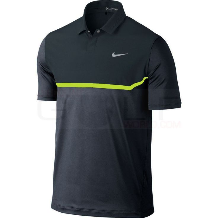 Nike TW Elite Cool Carbon Polo 639819 Tiger Woods Collection, Dri-Fit Technology, Body Mapping Polos Shirts Mens Golf Apparel
