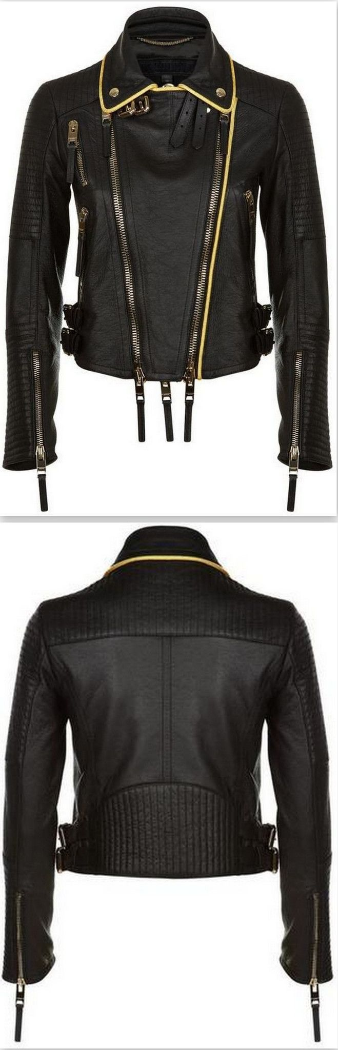 'The Biker' Regimental-Trimmed Genuine Leather Biker Jacket