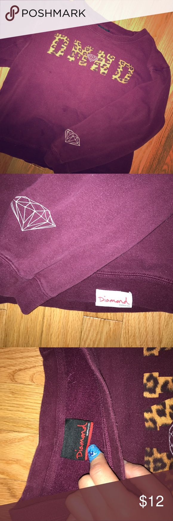 "Maroon sweater Diamond supply company sweater maroon with leopard ""DMND"" written across the front Diamond Supply Co. Tops Sweatshirts & Hoodies"