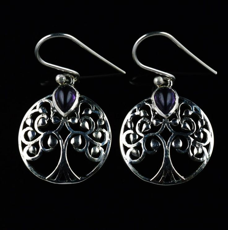 925 Sterling Silver Natural Amethyst Gemstone Handmade Earrings Jewelry #Handmade #DropDangle #Party