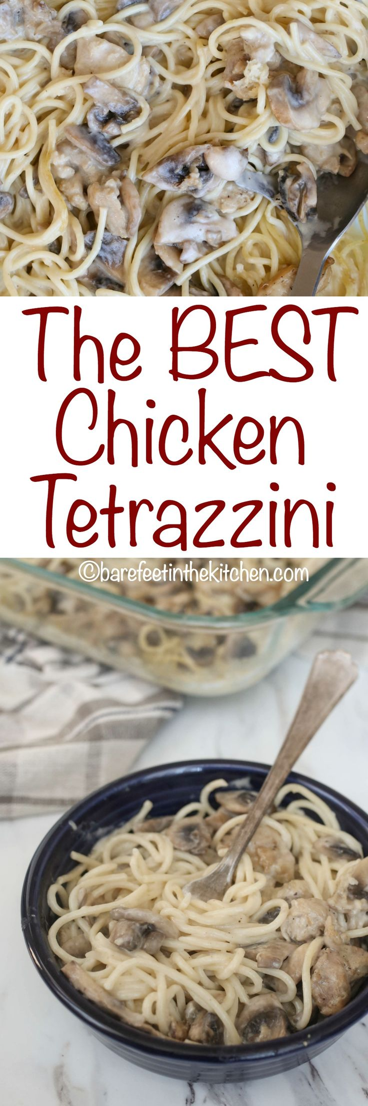 The BEST Chicken Tetrazzini - get the recipe at barefeetinthekitchen.com