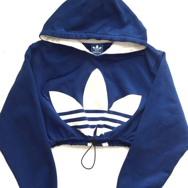 Reworked Adidas Crop Hoody Blue (93 BAM) ❤ liked on Polyvore featuring tops, cut-out crop tops, adidas, adidas top, blue top and crop top