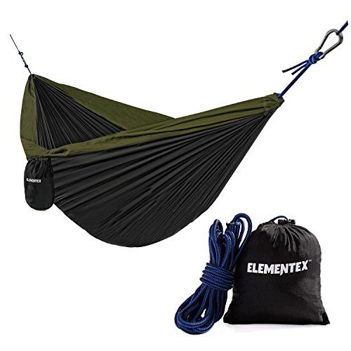 ELEMENTEX Portable Parachute Nylon Travel Camping Backpacking Hammock  Small Black  Green * You can get additional details at the image link.