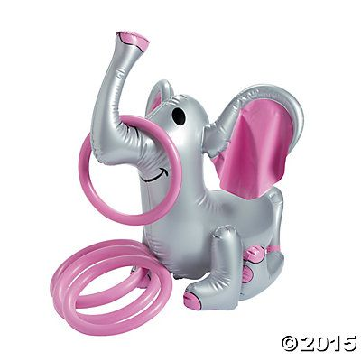 Inflatable Pink Elephant Ring Toss Game. Girly pink birthday party.