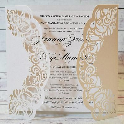 Butterfly Ivory - Beautiful Ivory Finish Laser Cut Cover  Wedding Invitation