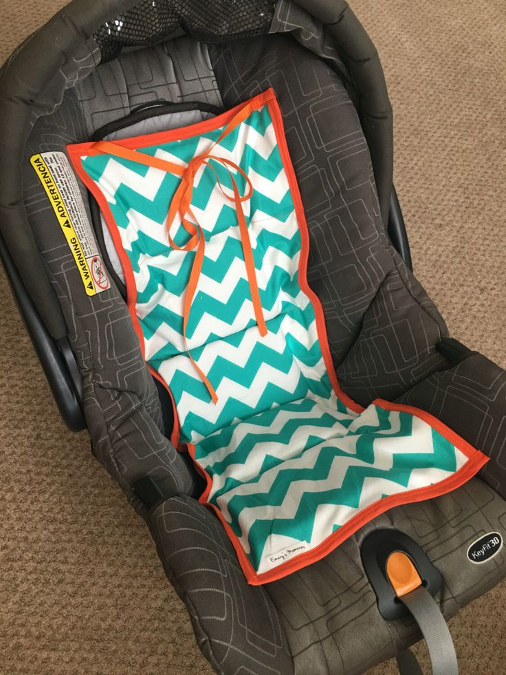 Car seat cooler- Teal chevron and orange trim READY TO SHIP! by EmerysMemories on Etsy https://www.etsy.com/listing/192179519/car-seat-cooler-teal-chevron-and-orange