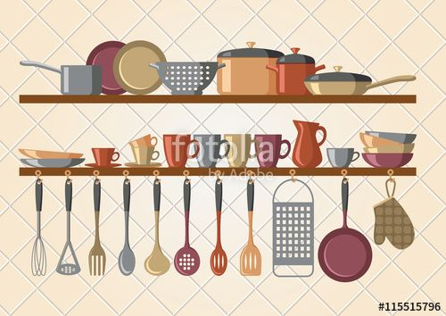 """Download the royalty-free vector """"Retro kitchen shelves and cooking utensils""""…"""