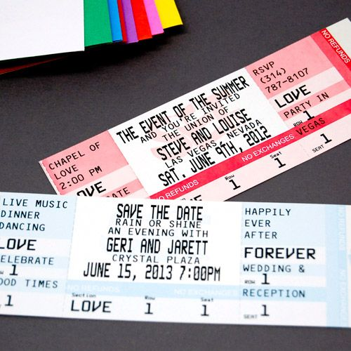 Personalized Wedding Ticket Magnets...these are a really cool idea for a movie-themed wedding