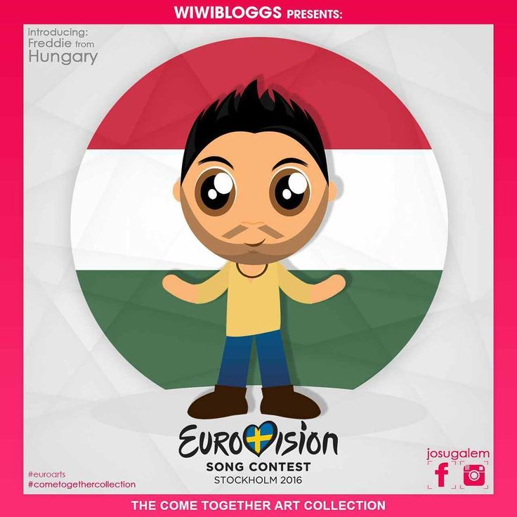 """He's forging his own musical path. He's a hunk from Hungary. He is """"Pioneer"""" singer @freddiemusicofficial! #Eurovision #eurovision2016 See more cartoons at #cometogethercollection. Art by @josugalem"""