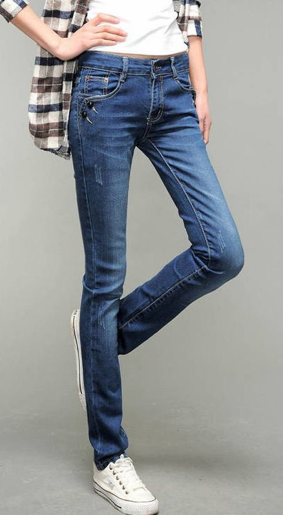 Modern Fashion Zipper Design Stripes Pockets Slim Denim Pant
