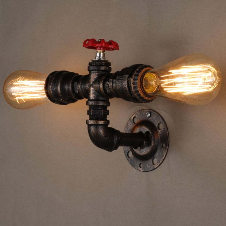 Industrial Water Pipe Black Iron Finished Edison Style Retro Vintage E27 Fitting Wall Lamp