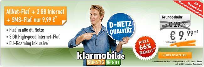 3GB Klarmobil Allnet Flat für 9,99€ - Vodafone Netz