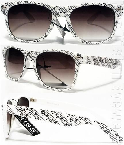 Music Notes Retro Smoke Wayfarer Sunglasses White KMS. http://www.globaleyeglasses.com