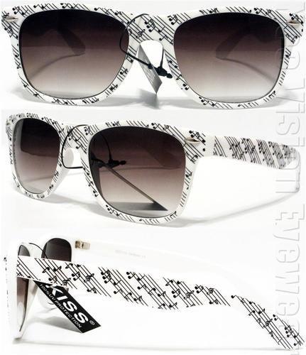 Music Notes Retro Smoke Wayfarer Sunglasses White KMS | eBay