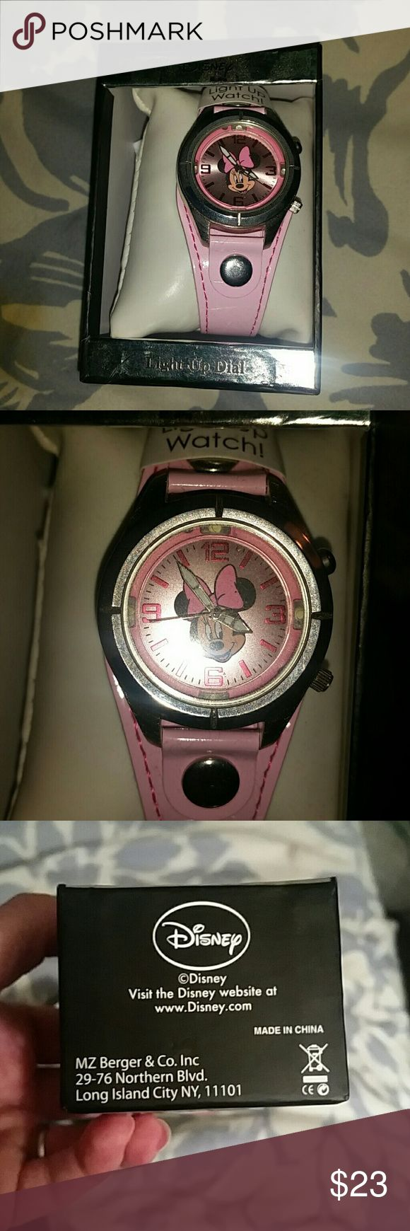 NIB Disney Minnie Mouse light-up watch! This is new, never taken out of box, good battery and lights up! The color is light pink! Disney Accessories Watches