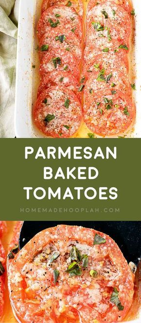 Baked Parmesan Tomatoes! If you're craving pizza but not the calories, these baked parmesan tomatoes are like a pizza without the dough. Bakes fast and only has 4 ingredients! | HomemadeHooplah.com