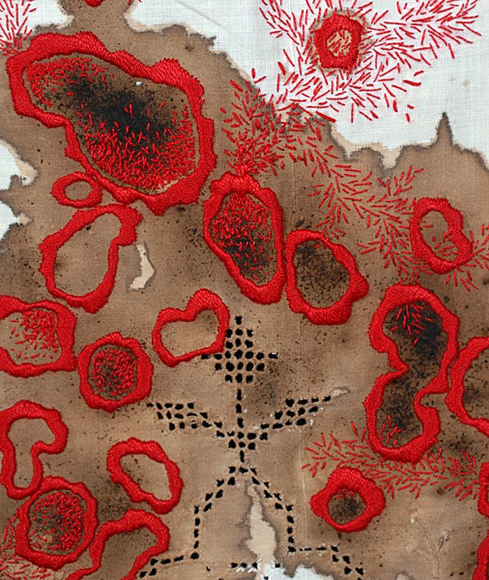 Erin Endicott: Healing Sutra #6 Detail, Hand embroidery, walnut ink