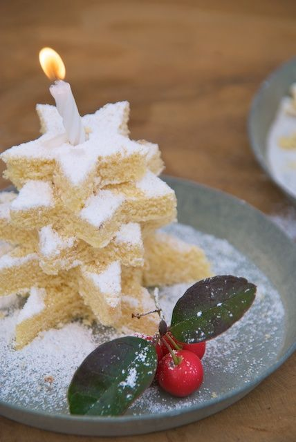 Dessert Delights... single layer white cake .....star shaped cookie cutter and powdered sugar