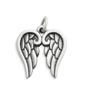 "Angel Wings Charm  $49.00  CM-3289 Whether worn on a charm bracelet or a chain, our gracefully detailed sterling silver Angel Wings Charm is ideal for the angel in your life. Product Specifications:  Sterling silver 11/16"" long 