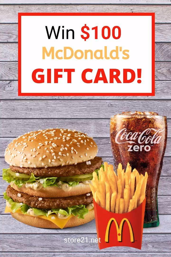 Win mcdonalds 100 gift card enjoy free food card