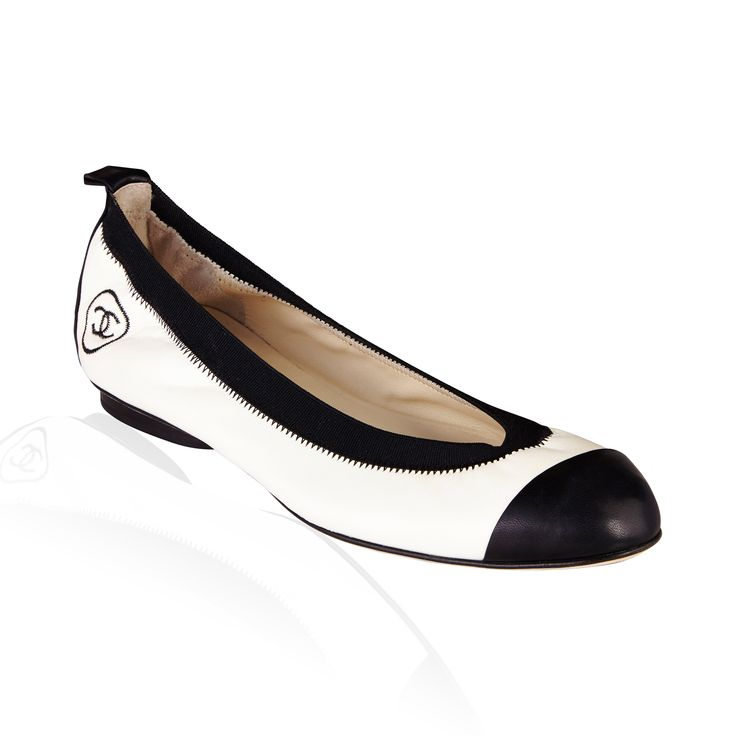 White/Black Leather Flat - Chic  fun Chanel Elastic Ballet Flats are a stylish addition for every wardrobe. This is a timeless style that any fashionista would not want to miss!