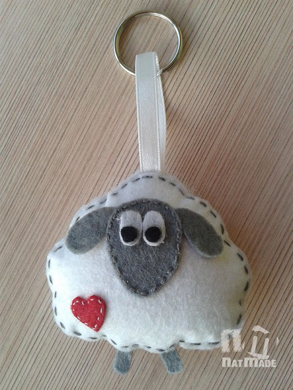 Felt sheep key rings Animal key rings by NatmadeCrafts on Etsy