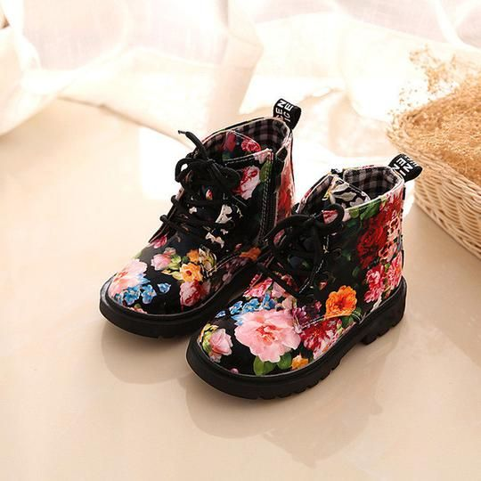 0516c0a6c1f4 Childrenboots Floral printed  girls  Baby Child Army Style  Martin ...