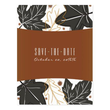 #savethedate #postcards - #Whimsical Autumn Fall Leaves Acorns Save the Date Postcard