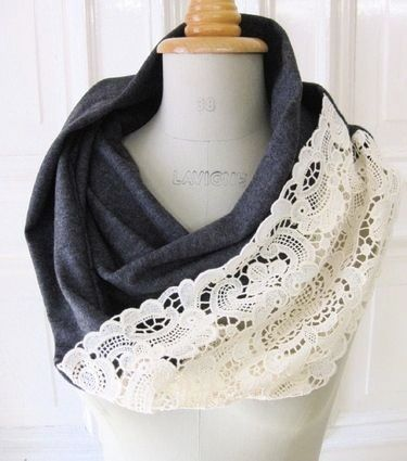 Blue grey infinity lace scarf
