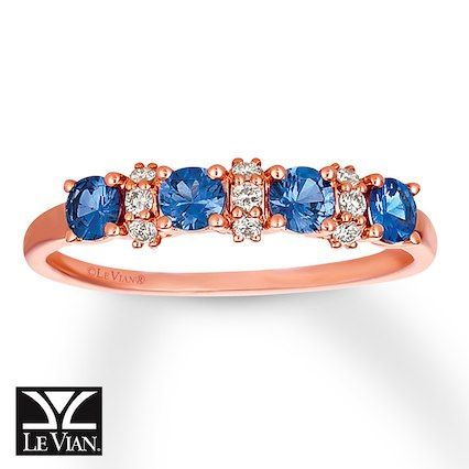 Strawberry Gold® brings a warm touch to Blueberry Sapphires™ and Vanilla Diamonds® in this sweet ring.