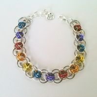 Chainmaille multicoloured bracelet, silver and gunmetal grey, rainbow colours