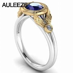[ $38 OFF ] Superb 1Ct Simulated Sapphire Diamond Engagement Ring 10K Two-Tone Gold Split Shank Ring Solid White Yellow Gold Wedding Ring
