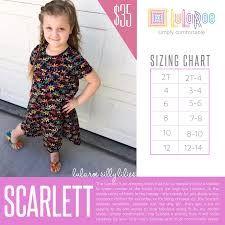 LulaRoe Kids Scarlett Dress Size Chart!  Shop the LulaRoe Kids Collection, Kids Leggings and Outfits with Shanel Hansen @ https://www.facebook.com/groups/lularoeshanelhansen/