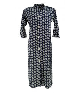 Cotton Printed Women's Kurta - (Navy, White)