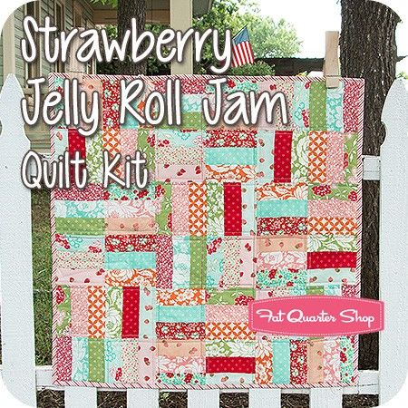 Strawberry Jelly Roll Jam Quilt Kit Featuring Hello