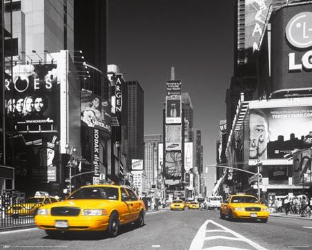 Wall Decor: B/W photography with yellow accents  Example: New York City Taxi - Times Square