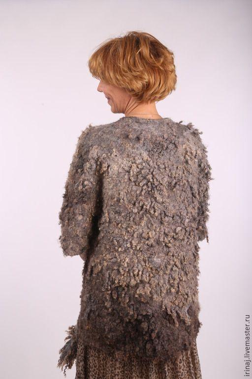 """Купить валяное пальто """"Natural brown"""" - бохо, бохо-стиль, бохо-шик, Мокрое валяние"""