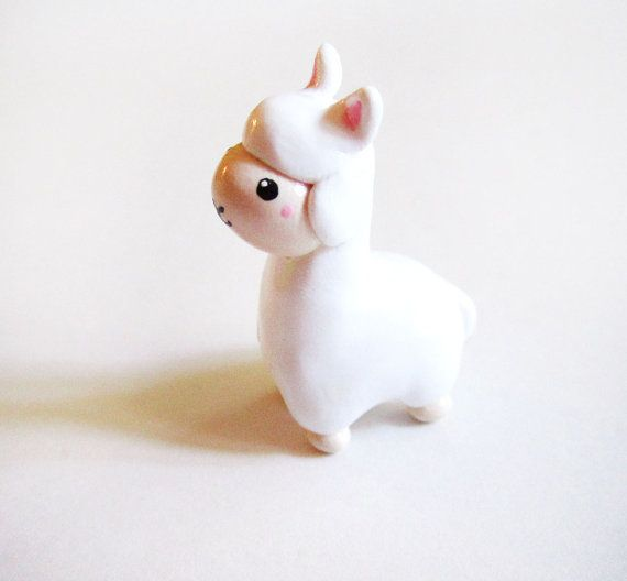 Miniature White Alpaca Figurine by MadAristocrat on Etsy, $15.00