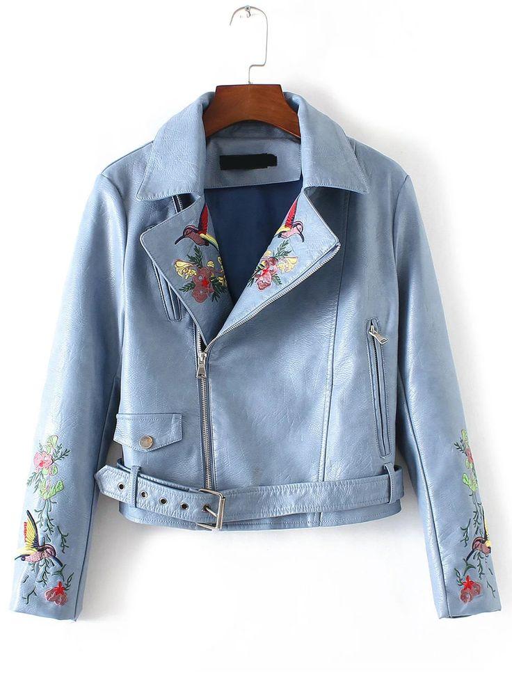 Shop Blue Bird Embroidery Zipper PU Jacket With Belt online. SheIn offers Blue Bird Embroidery Zipper PU Jacket With Belt & more to fit your fashionable needs.