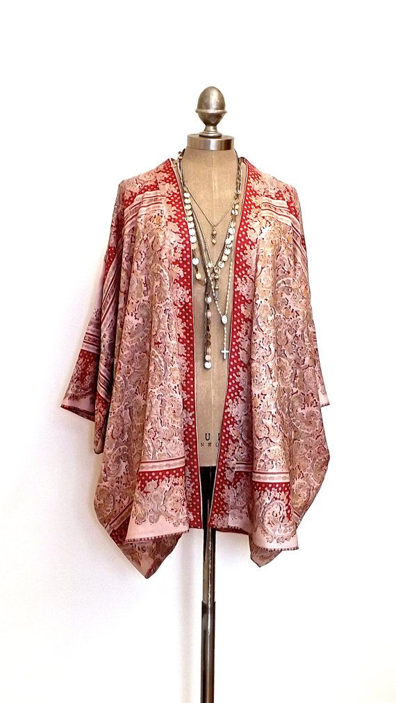 Silk Kimono jacket oversized / cocoon cover up
