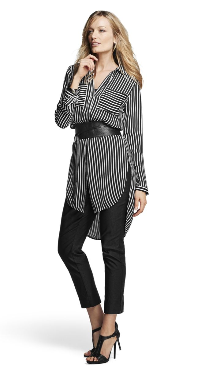 This shirt is so flattering with the longer length and vertical stripes. Talk about long and lean.